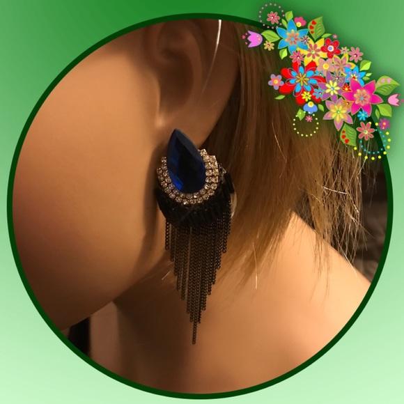 Jewelry - TEARDROP WITH FRINGE - BLUE (2771)